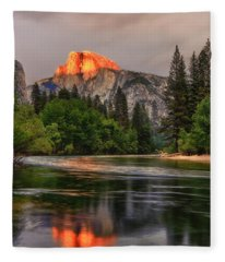 Golden Light On Halfdome Fleece Blanket