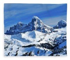 Grand Teton Winter Fleece Blanket