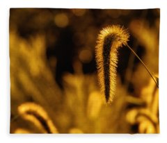 Grass In Golden Light Fleece Blanket