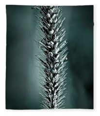 Grass Seedhead In Deep Cyan Fleece Blanket