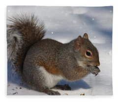 Gray Squirrel On Snow Fleece Blanket