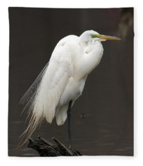 Great Egret Resting Dmsb0036 Fleece Blanket