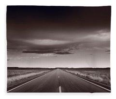 Great Plains Road Trip Bw Fleece Blanket