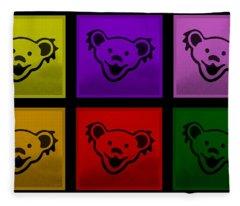 Greatful Dead Dancing Bears In Multi Colors Fleece Blanket