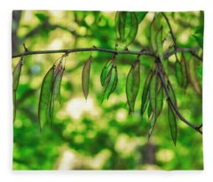 Green Redbud Seed Pods Fleece Blanket