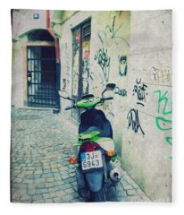 Green Vespa In Prague Fleece Blanket
