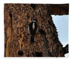 Hairy Woodpecker On Pine Tree Fleece Blanket