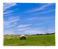 Hay Bales Under Brilliant Blue Sky Fleece Blanket