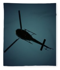 Helicopter Silhouette Fleece Blanket