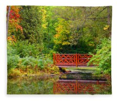 Henes Park Pond Bridge Fleece Blanket