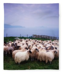 Herding Sheep, Inishtooskert, Blasket Fleece Blanket