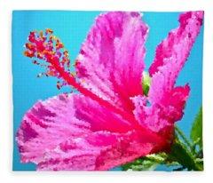 Hibiscus Crystal Luster Fleece Blanket