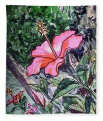 Hibiscus Sketchbook Project Down My Street  Fleece Blanket