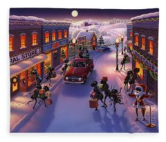 Holiday Shopper Ants Fleece Blanket
