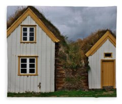 Icelandic Turf Houses Fleece Blanket
