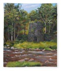 Iron Furnace Of Franconia New Hampshire Fleece Blanket