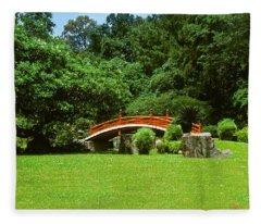 Japanese Garden Bridge 21m Fleece Blanket