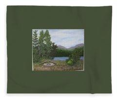 Kootenay Lake Bc Fleece Blanket