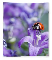 Ladybug And Bellflowers Fleece Blanket