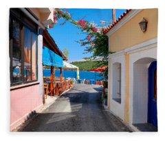 Lagada Chios Greece  Fleece Blanket