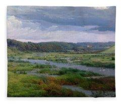 Landscape Near Ribe Denmark Fleece Blanket