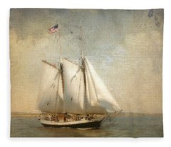 Liberty Clipper On Boston Harbor Fleece Blanket