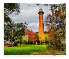 Lighthouse At Currituck Beach Fleece Blanket
