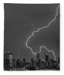 Lightning Bolts Over New York City Bw Fleece Blanket