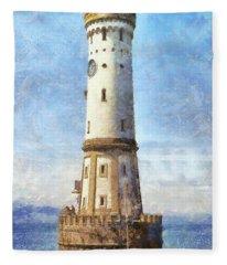 Lindau Lighthouse In Germany Fleece Blanket