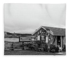 Lobster House Bw Fleece Blanket