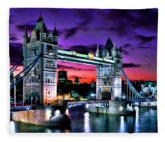 London Evening At Tower Bridge Fleece Blanket