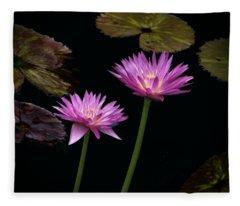 Lotus Water Lilies Fleece Blanket