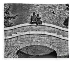 Lovers On A Bridge  Fleece Blanket