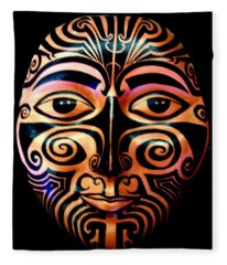 Maori Mask Fleece Blanket