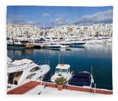 Marina In Puerto Banus Fleece Blanket
