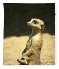Meerkat Mother And Baby Fleece Blanket