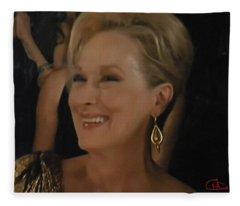 Meryl Streep Portrait  Fleece Blanket