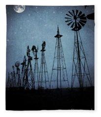 Midnight At The Windmills Fleece Blanket