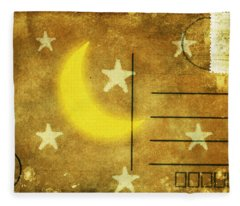 Moon And Star Postcard Fleece Blanket