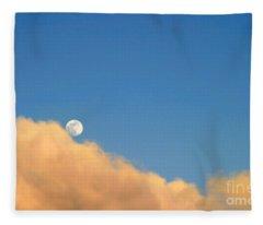 Moon At Sunset Fleece Blanket