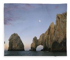 Moon Over El Arco Cabo San Lucas Mexico Fleece Blanket