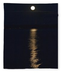 Moon Over Seneca Lake Fleece Blanket