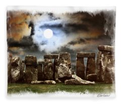 Moon Over Stonehenge Fleece Blanket