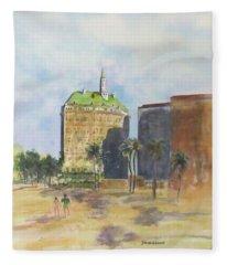 Morning Walk By The Villa Riviera Fleece Blanket