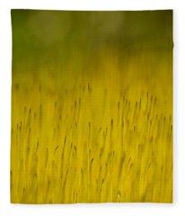 Moss In Yellow Fleece Blanket