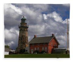Old Fairport Harbor Light Fleece Blanket