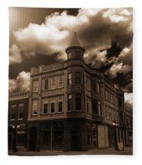 Old Menominee Corner Store Building Fleece Blanket