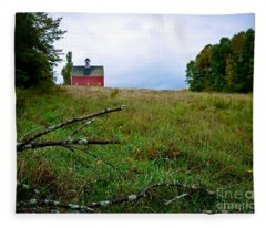 Old Red Barn On The Hill Fleece Blanket
