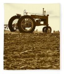 Old Tractor I In Sepia Fleece Blanket