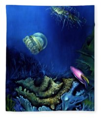 One Fish Two Jelly Fish Fleece Blanket